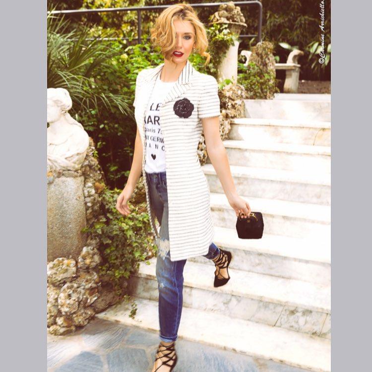 elenabarolo wears Chanel coat and mini bag 7fam jeans edwardachourhellip