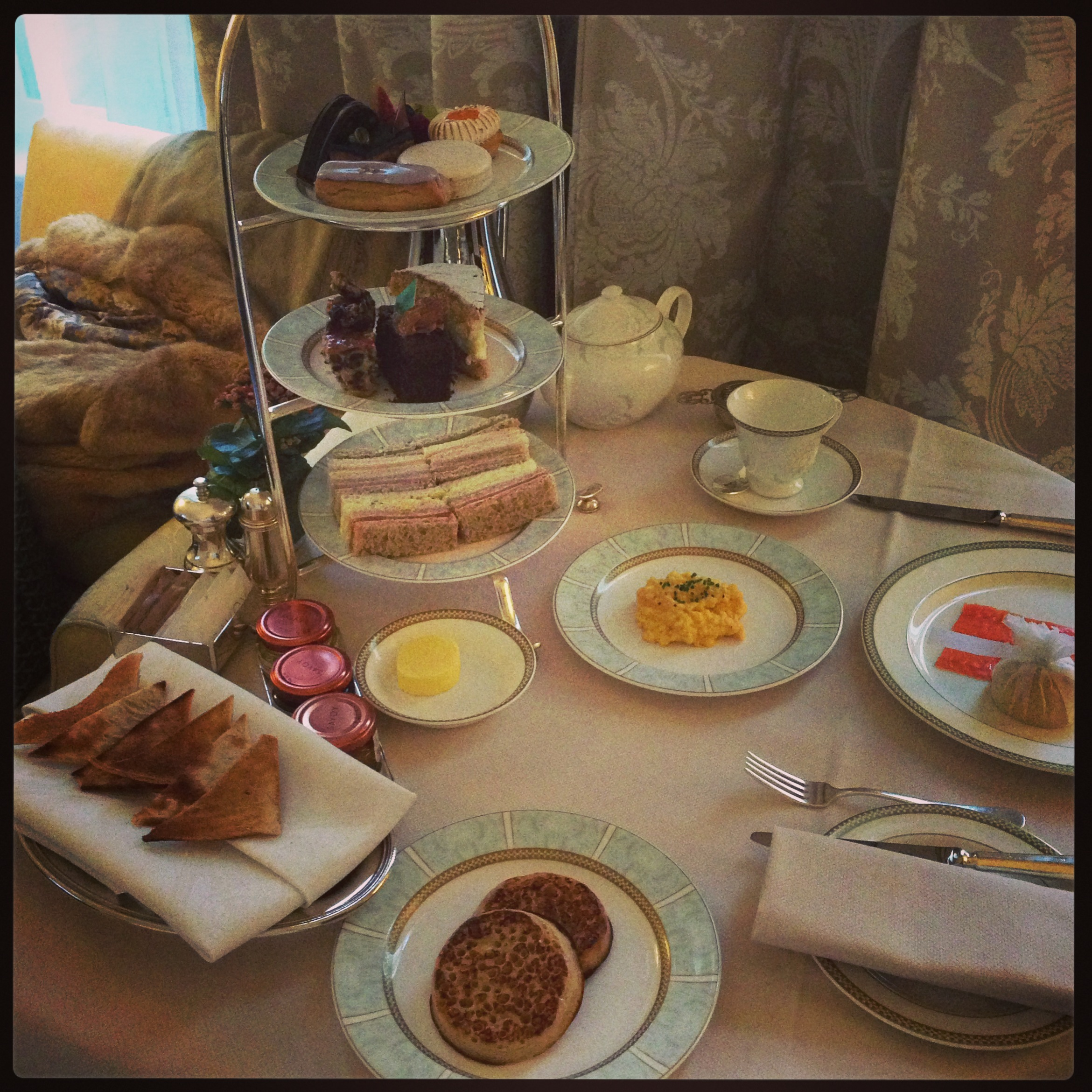 afternoon tea in my room at savoy,lodon.