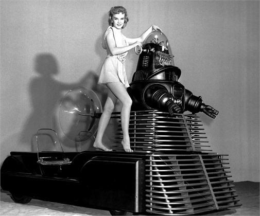 FORBIDDEN PLANET, Anne Francis, Robby the Robot on set, 1956