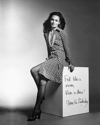 diane von furstenberg wearing a wrap dress