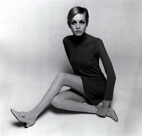 The 1960s Fashion Twiggy in a Min Skirt 1965