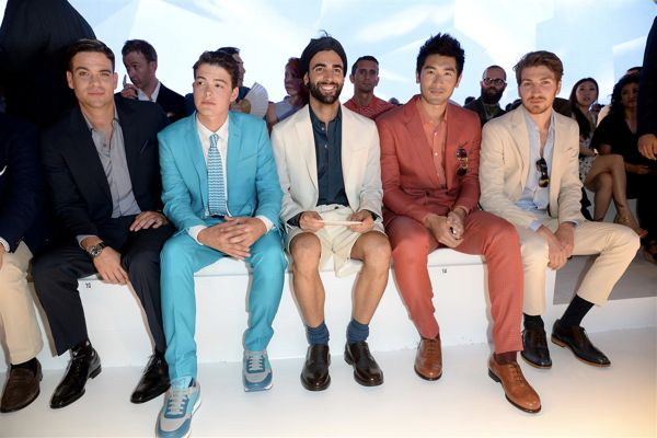 Mark Salling  Israel Broussard  Marco Mengoni  Godrey Gao and Alan Cappelli - Salvatore Ferragamo SS14 Men s Show - Gettyimages - High Res (Large)