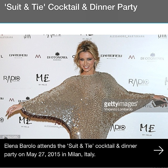 Loving the dress from my last night party #suitandtieparty #elenabarolo…