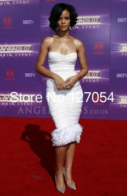 Chiffon-Form-Fitting-Strapless-Knee-Length-Rihanna-At-BET-Awards2014-Red-Carpet-Dresses