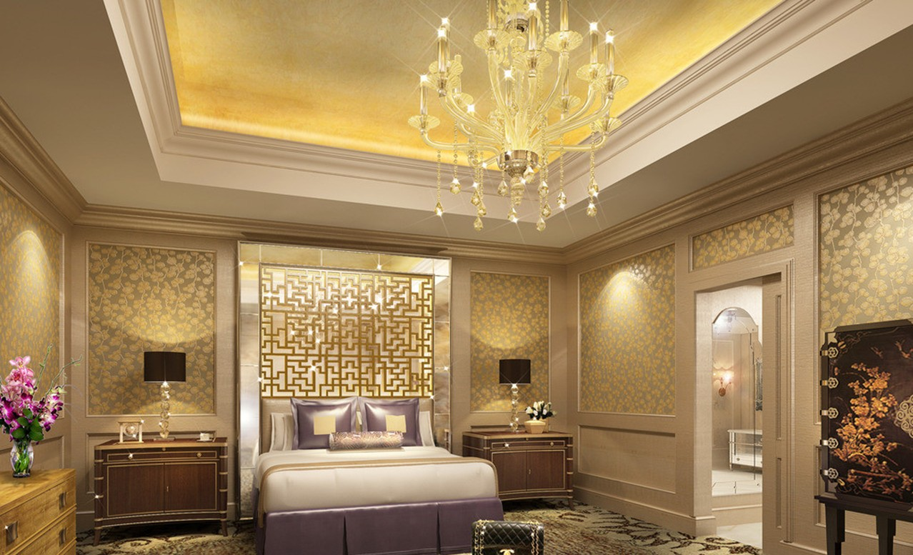 Luxury-hotel-bedroom-chandeliers-and-wall-design-rendering
