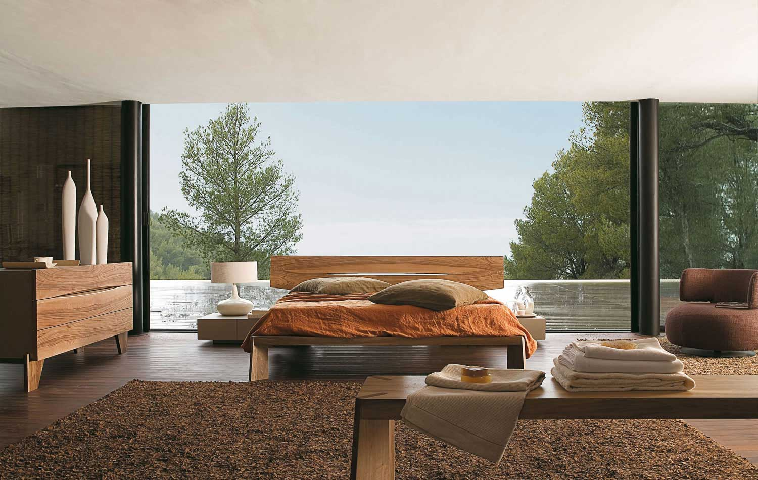 glass-wall-bedroom-design-with-walnut-bedroom-furniture