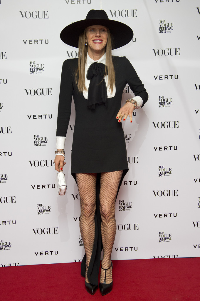 anna-dello-russo-2013-vogue-festival-saint-laurent-embellished-pussy-bow-tie-dress