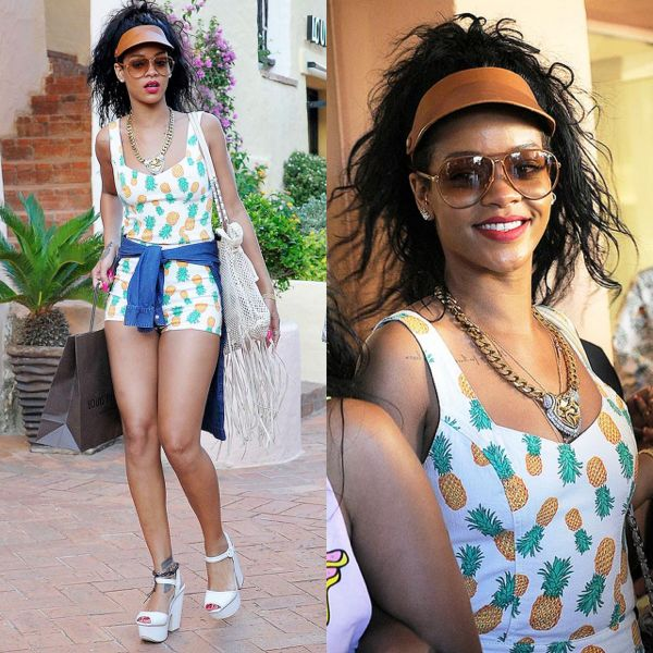 Rihanna-Porto-Cervo-Topshop-Pineapple-Print-Playsuit-White-Block-Sandals-Fringed-Chanel-Bag-7