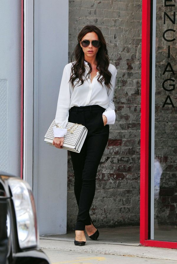 Victoria 'Posh' Beckham seen looking stylish as she is spotted leaving the Balenciaga fashion store in New York City