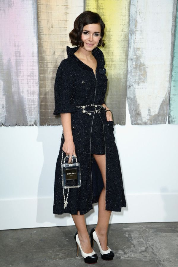 Miroslava-Duma-in-Chanel-Spring-2014-Front-Row-Show-chanel-bottle-bag
