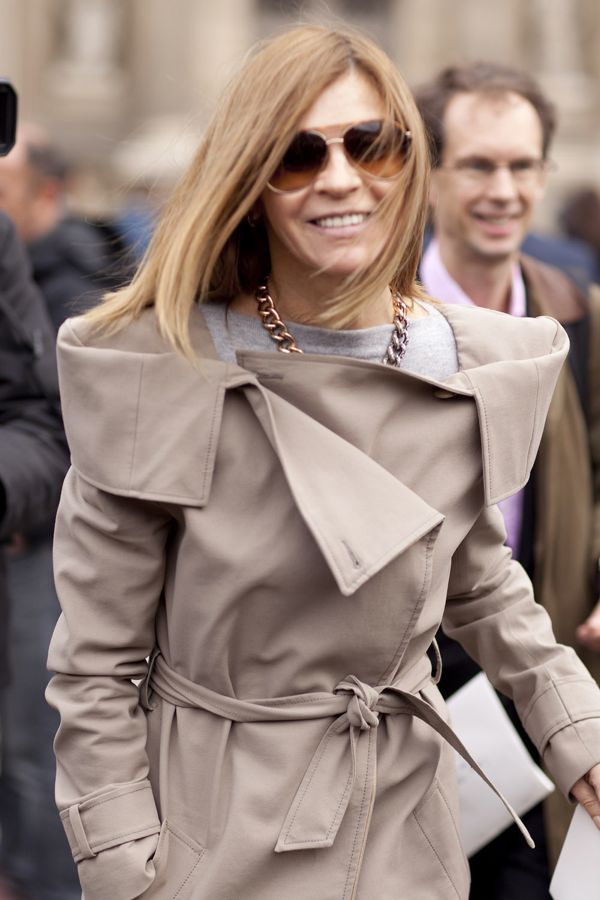 Carine Roitfeld in trench and TF sunglasses