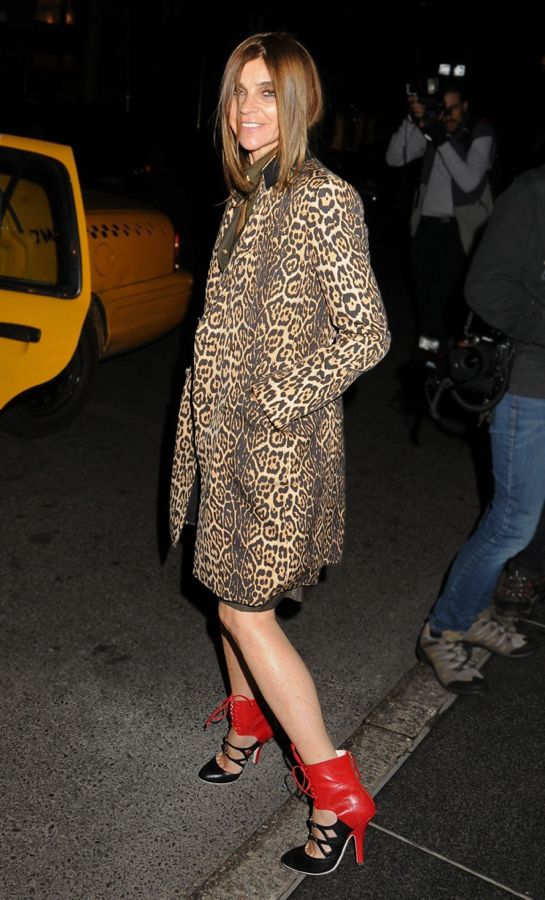 Former Editor-in-Chief of French Vogue Carine Roitfeld is all smiles as she leaves the Carlyle Hotel in New York City