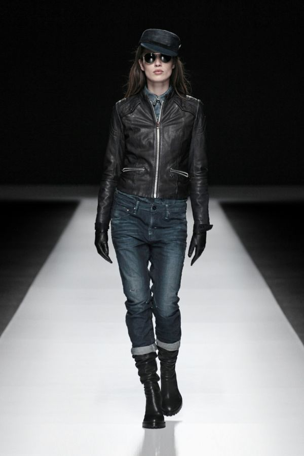 Aviator leather jacket wmn - Hussar dnm slim shir wmn ls - re arc 3D tapered wmn