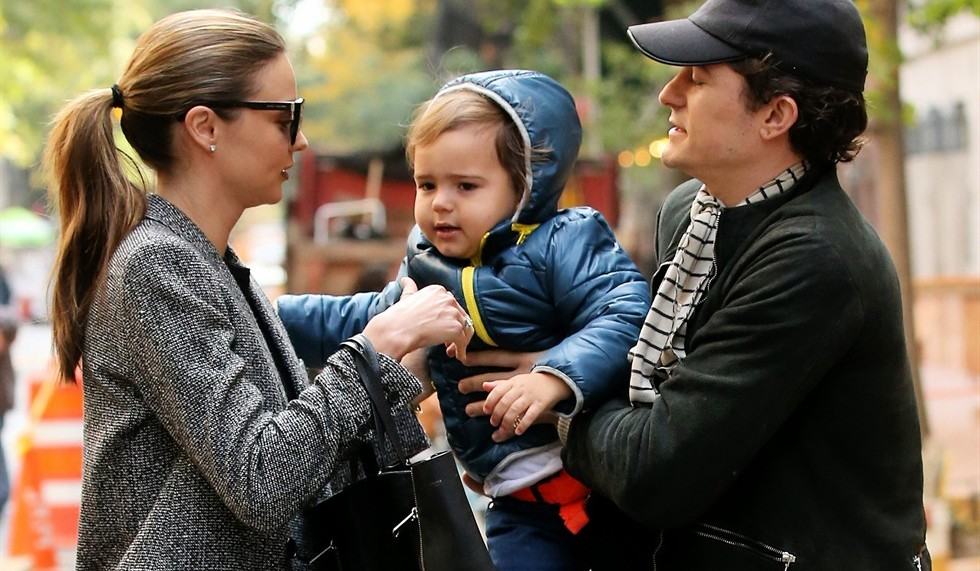 orlando bloom, miranda kerr and flynn christopher bloom
