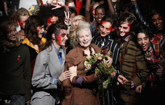 Mandatory Credit: Photo by REX (4448766ar) Vivienne Westwood on the catwalk Vivienne Westwood Red Label show, Autumn Winter 2015, London Fashion Week, Britain - 22 Feb 2015