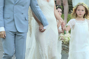Newlyweds Kate Moss and Jamie Hince with Kate's daughter Lila Grace after their wedding ceremony held at Southrop Village